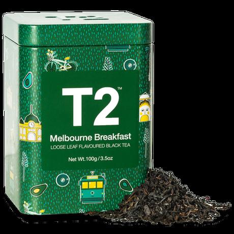 T2 紅茶 Melbourne Breakfast(メルボルン・ブレックファスト)茶葉 100g 缶タイプ