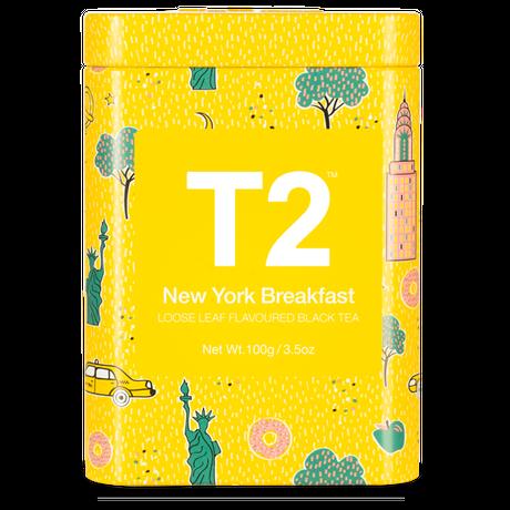 T2 紅茶 New York Breakfast(ニューヨーク・ブレックファスト)茶葉100g 缶タイプ