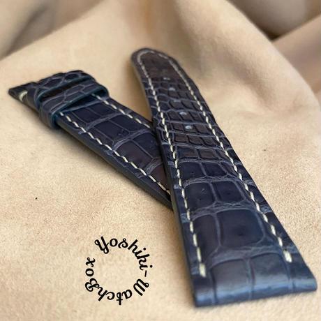 cro-622 クロコダイル レザー 腕時計 ベルト ブルー (ラグ幅21mm - バックル幅18mm)
