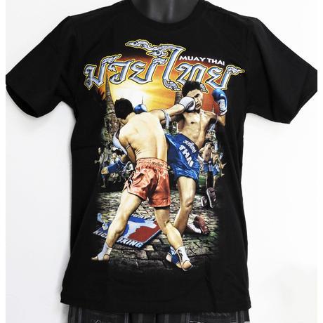 タイフェスで人気のムエタイTシャツ 右ストレート柄