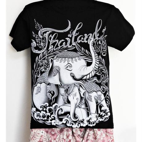 ゾウの親子Tシャツ(レディース)