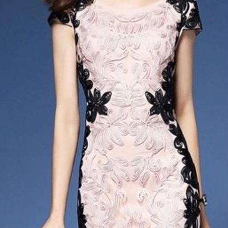 定価13980円  bs-onep14-16  ワンピース ワンピ ドレス レディース バイカラーワンピース 大きいサイズ 刺繍 リーフ柄 半袖 膝丈