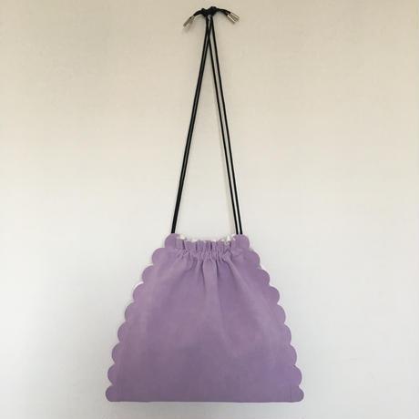 スカラップ  巾着 バッグ  3way 【ラベンダー】
