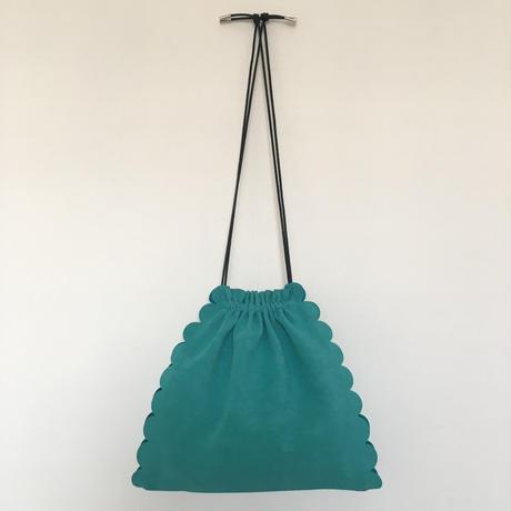 スカラップ  巾着 バッグ 3way 【グリーン】