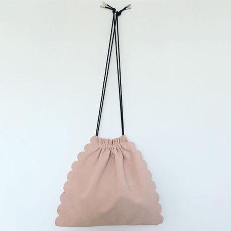 スカラップ  巾着 バッグ 3way  【ライトピンク】