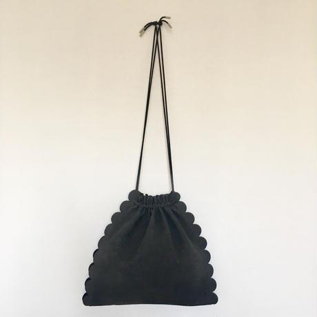スカラップ  巾着 バッグ 3way 【charcoal】