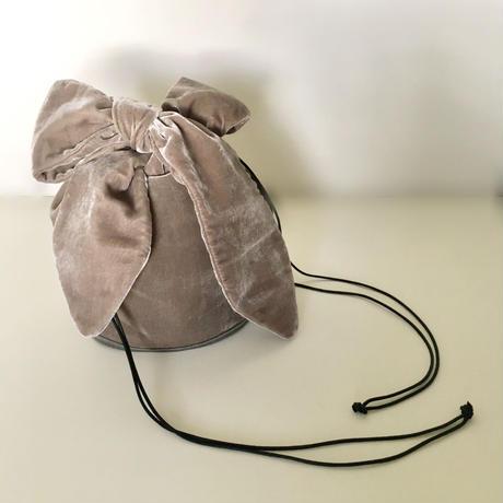 ベルベット リボン 巾着 バッグ【グレー】