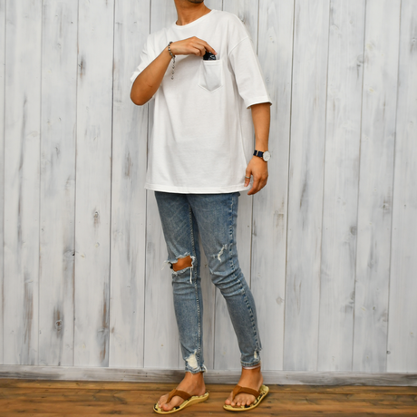 Big Silhouette Pocket Tee  【White】
