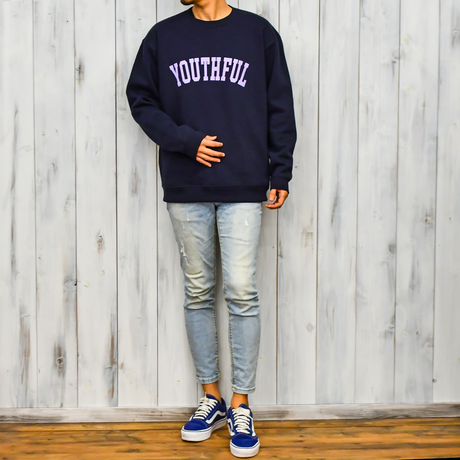 YOUTHFUL logo crew neck sweatshirt【Navy】