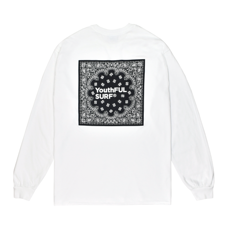 Bandana Square Logo Long Sleeve Tee / White