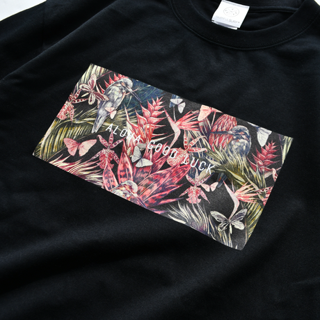 ALOHA GOOD LUCK Botanical Box Logo Tee【Black】