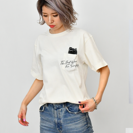 The Best Wave Pigment Pocket Tee / White