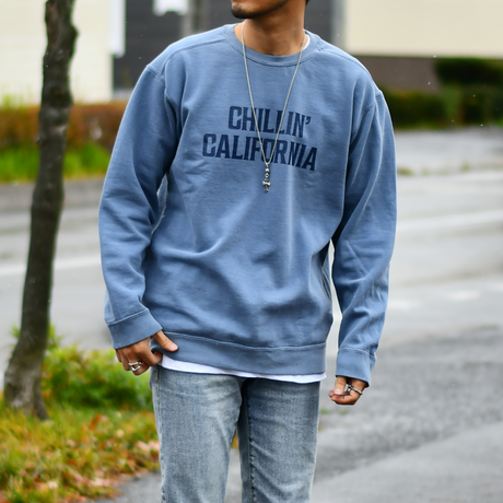 Chillin' california pigment dyed crewneck sweatshirts【Blue jean】