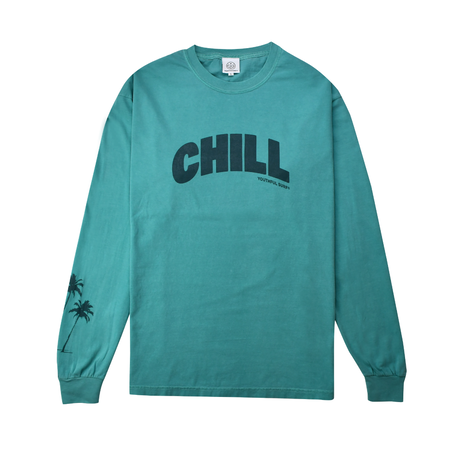 CHILL Palm tree Pigment dyed L/S Tee / Seafoam
