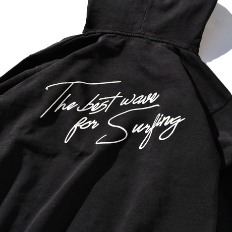 The best wave for surfing Pigment Dyed hooded sweatshirt【Vintage Black】