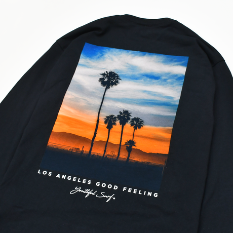 Sunset Photo Graphic Long Sleeve Tee / Black