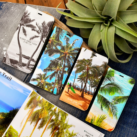 【iPhoneXR/XS/X/8/7】Palm tree 手帳型 iPhone case