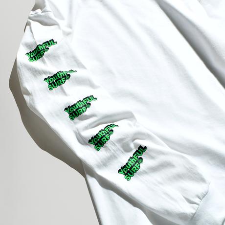 3D Long Sleeve Tee / Neon Green × White
