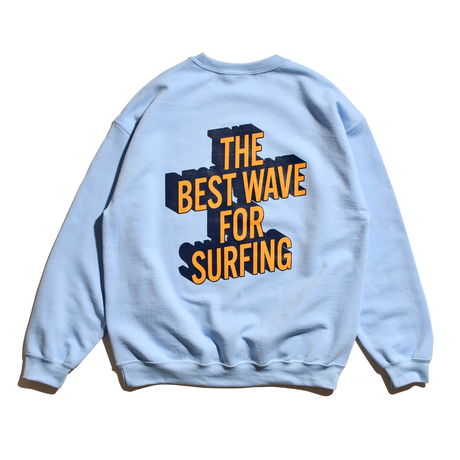 3D Graphic Crew Neck Sweatshirt / Sax