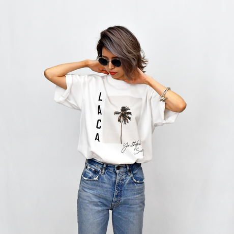 LACA Photo Graphic Relax Fit Tee / White