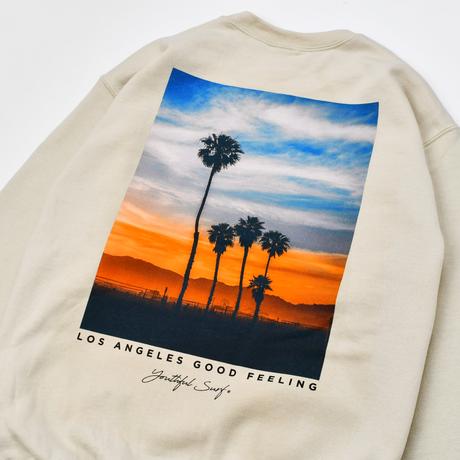 Sunset Photo Graphic Crew Neck Sweatshirt / Sand