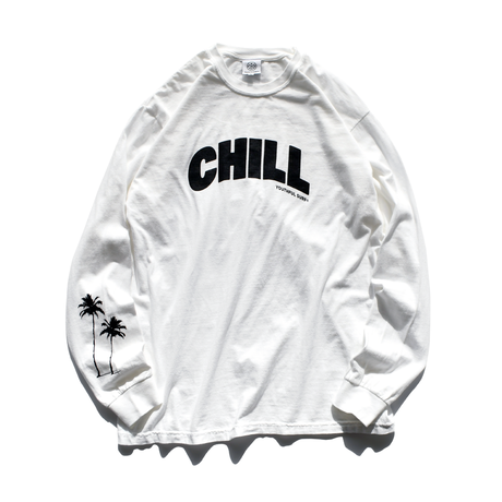 CHILL Palm tree Pigment dyed L/S Tee / White