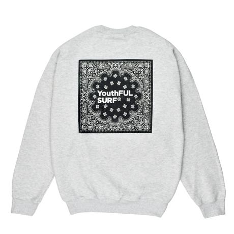 Bandana Square Logo Crew Neck Sweatshirt / Ash