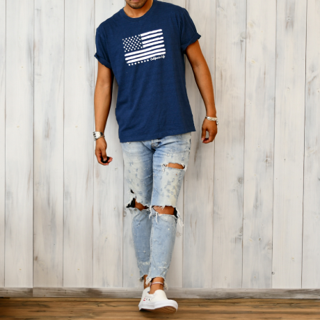 The American flag  Tee  【 Dark Indigo】