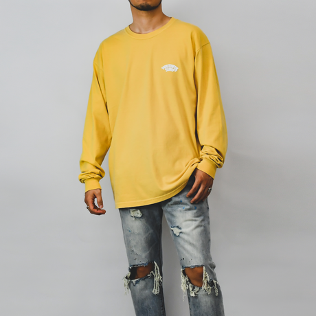 Foaming Logo Pigment Dyed Long Sleeve Tee / Mustard