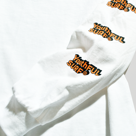 3D Long Sleeve Tee / Neon Orange × White