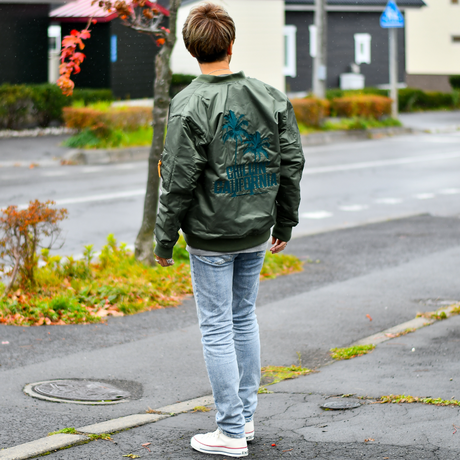 Chillin'california  Embroidery MA-1 Jacket【Olive】