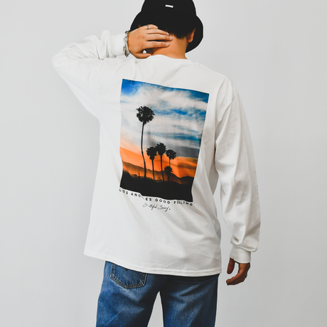 Sunset Photo Graphic Long Sleeve Tee / White