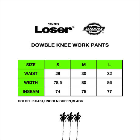 DOWBLE KNEE STRING WORK PANTS BLACK