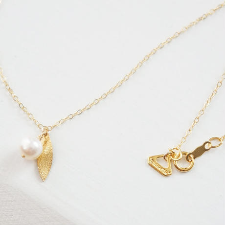 K14gf pearl leaf pierce & necklace SET