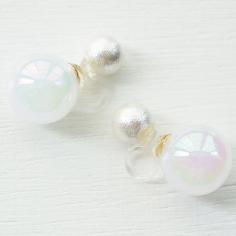cottonpearl×whiteauroraball イヤリング
