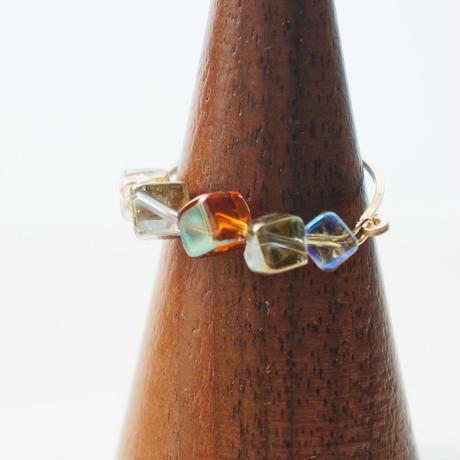 K14gf crystal dice ring
