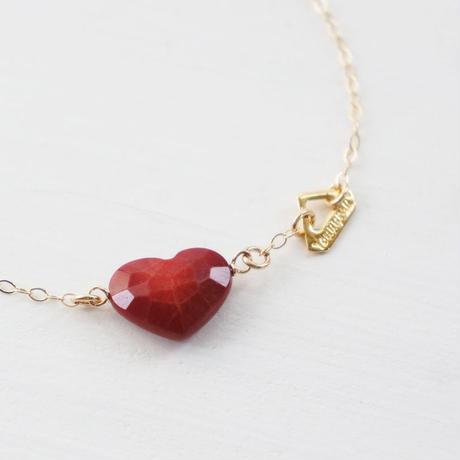 K14gf coral heart necklace ♥
