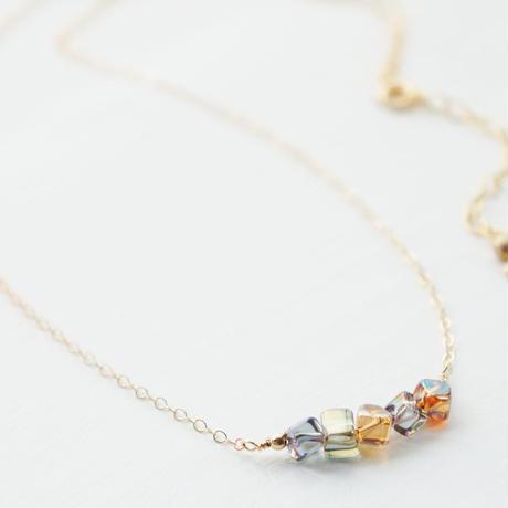 K14gf crystal dice necklace