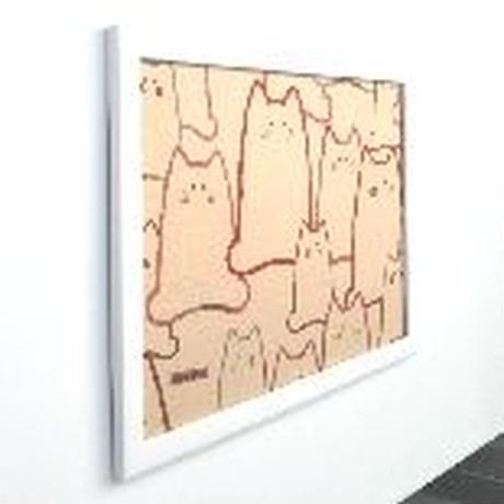 愛くるしいネコ 額装(額入り) アートパネル