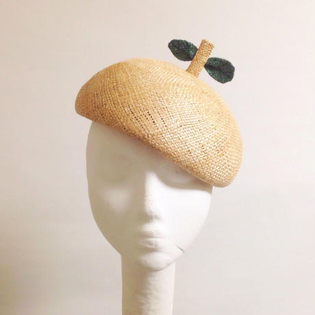 STRAW BERET with LEAF