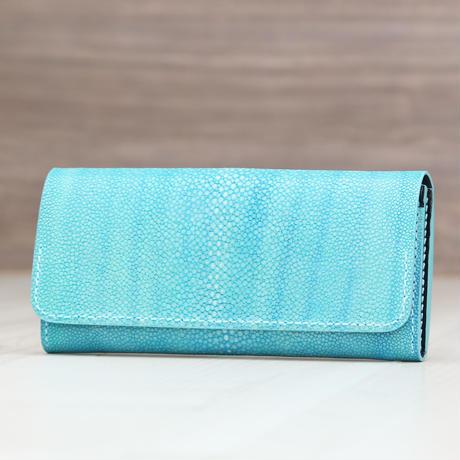 エメラルドブルー《長財布:アウロラ》※手染め一点物