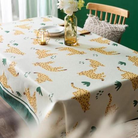 テーブルクロス ホームパーティーテーブルカバー 現代芸術 ナチュラル ヒョウ柄 防水 カフェなどにも!_85×85cm