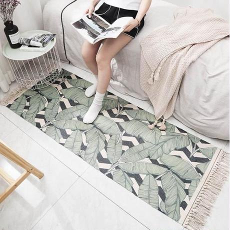 ボヘミアンデザイン 手作りタッセル付き綿カーペット★ 寝室やリビングルームのドアマットやカーペットとして最適