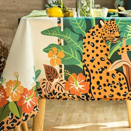 テーブルクロス ホームパーティーテーブルカバー 現代芸術 ジャングル ヒョウ柄 防水 カフェなどにも!_140×180cm