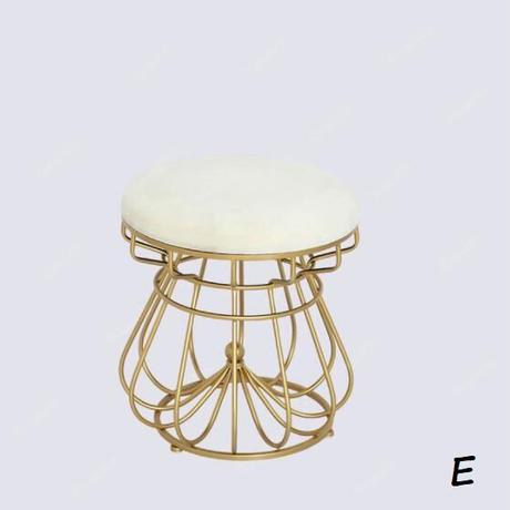 ヴィンテージ風 ラウンドクラウンスツール 寝室 ゴールド 椅子ダイニング オットマン スツール 家具