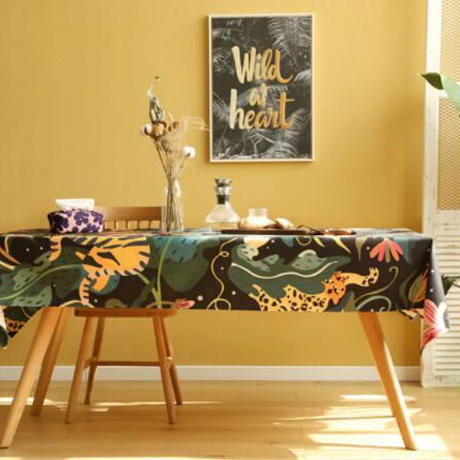 テーブルクロス ホームパーティーテーブルカバー 現代芸術 ジャングル エキゾチックなヒョウ柄 カフェなどにも!_140×180cm