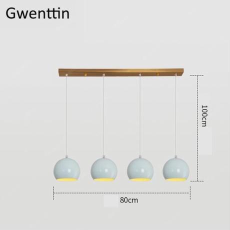 ボール ペンダントライト Led ランプ 鉄 ダイニングルーム キッチン 照明器具 サスペンション照明器具_4つタイプ