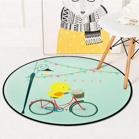 アニマル柄ラウンドカーペット 120㎝_リビングルームのコーヒーテーブルフロアマットやベビークロールカーペットとしても最適 120㎝