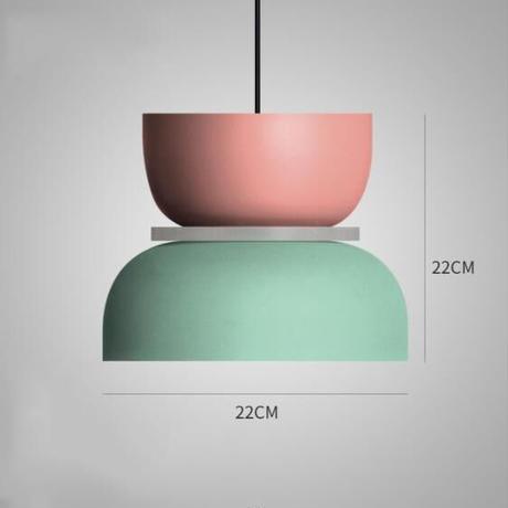 モダンなデザイン マカロンペンダントライト led E27 鉄アート ダイニングルーム キッチン サスペンション 照明器具 リビングルーム ベッドルーム_22cm×22cm