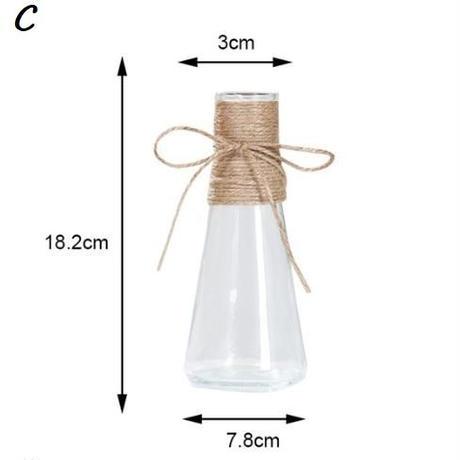 北欧ガラス 花瓶 リビングルームのテーブルの装飾 麻ひも付きの北欧風花瓶